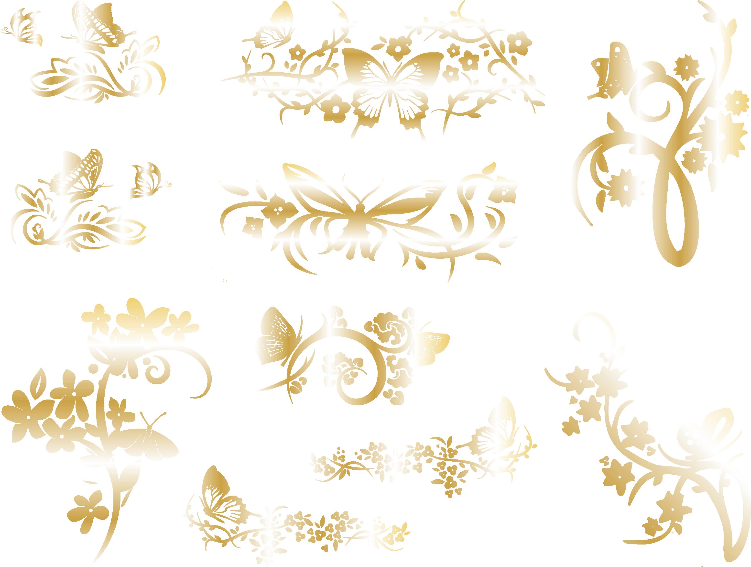 Бабочки силуэты золотые